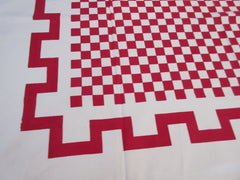 Geometric Bold Red Checkerboard Novelty Vintage Printed Tablecloth (49 X 48)