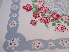 Pink Green Roses White Daisies Floral Vintage Printed Tablecloth (50 X 45)