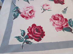 Giant Pink Green Roses on Gray Floral Vintage Printed Tablecloth (62 X 51)