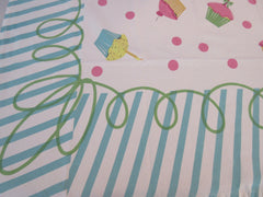 Vintage Style Birthday Cupcakes BLUE Novelty Vintage Printed Tablecloth (60 X 53)