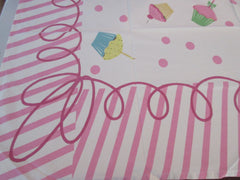 Vintage Style Birthday Cupcakes PINK Novelty Vintage Printed Tablecloth (61 X 52)