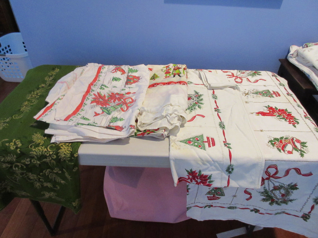 Christmas Cutter Lot MISC/STAIN Vintage Printed Tablecloth