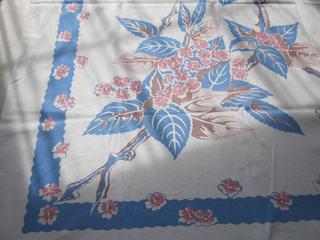 Old Fashioned Blue Taupe Floral Vintage Printed Tablecloth (50 X 45)