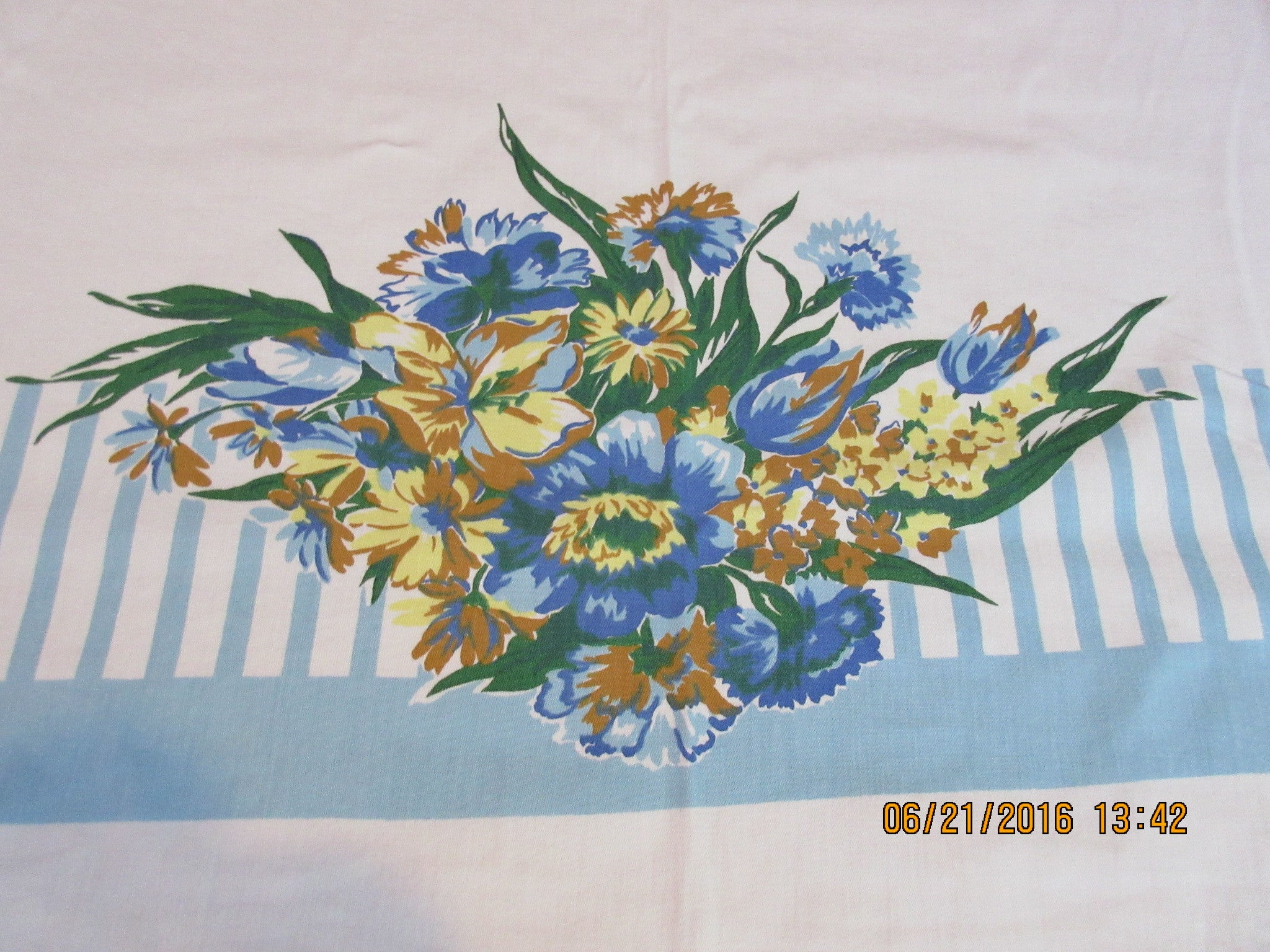 Blue Yellow Stripes Floral Ends Vintage Printed Tablecloth (51 X 48)