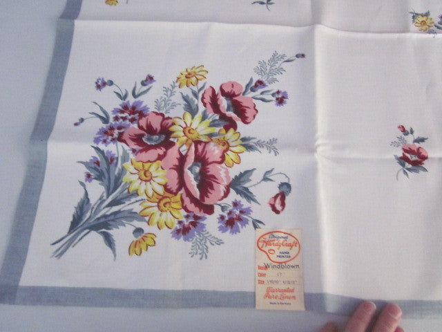 Pastel Poppies Gray Linen Floral MWT Napkins Vintage Printed Tablecloth (40 X 39)