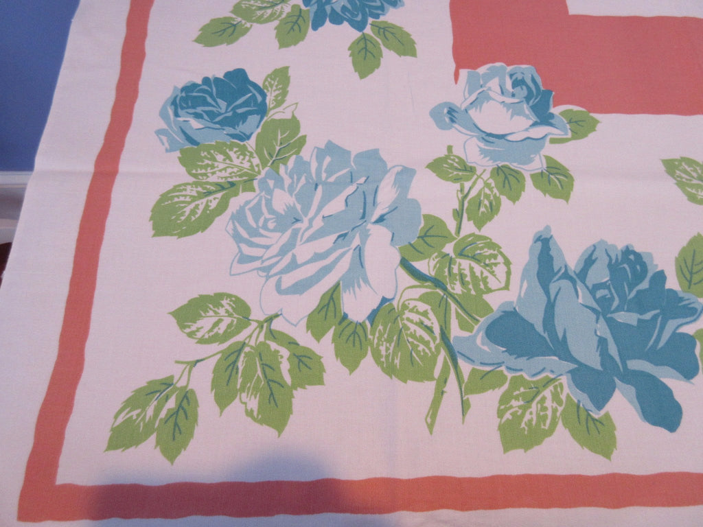 Teal Roses on Coral Peach Floral Vintage Printed Tablecloth (51 X 51)