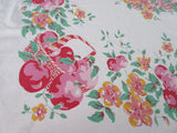 Pink Yellow Fiatelle Apple Baskets Fruit Vintage Printed Tablecloth (63 X 52)