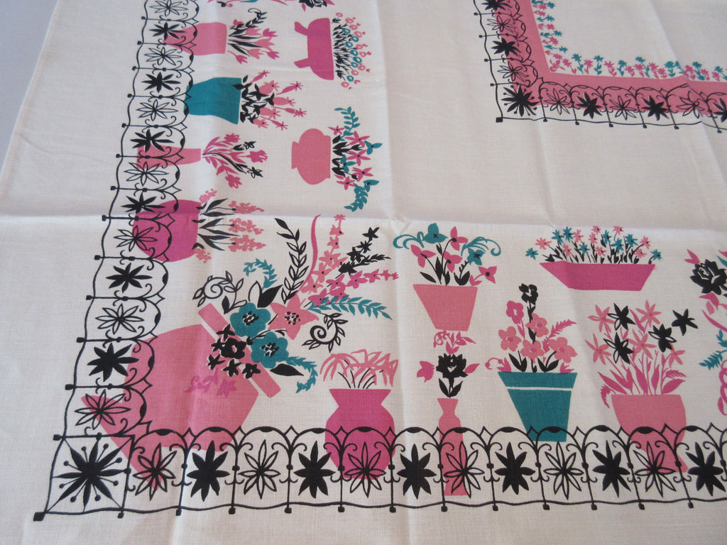 Unwashed Pink Teal Black Flowerpots Wrought Iron Linen Floral Vintage Printed Tablecloth (51 X 50)