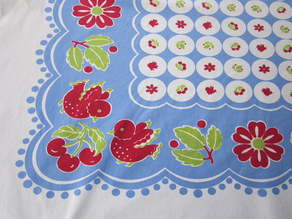 HTF CHP Birds and Cherries Novelty Vintage Printed Tablecloth (52 X 45)