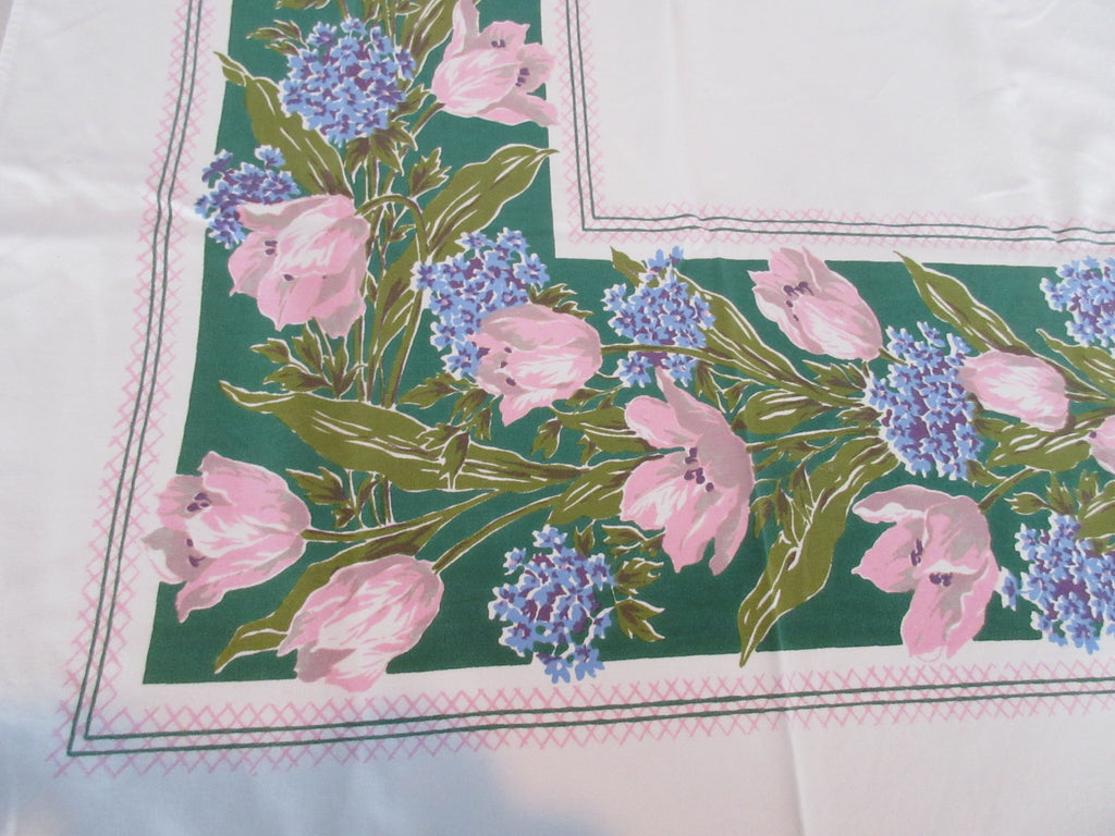 Pink Tulips Blue Forget Me Not on Green Floral Vintage Printed Tablecloth (60 X 51)