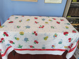 HTF Flower of the Month on Red Novelty Vintage Printed Tablecloth (70 X 52)