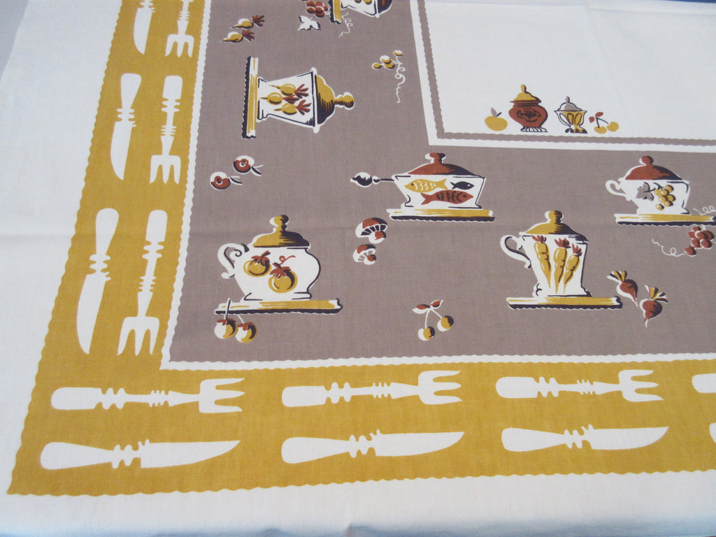 Fall Broderie Kitchen Forks Pots Brown Gold Novelty Vintage Printed Tablecloth (52 X 49)