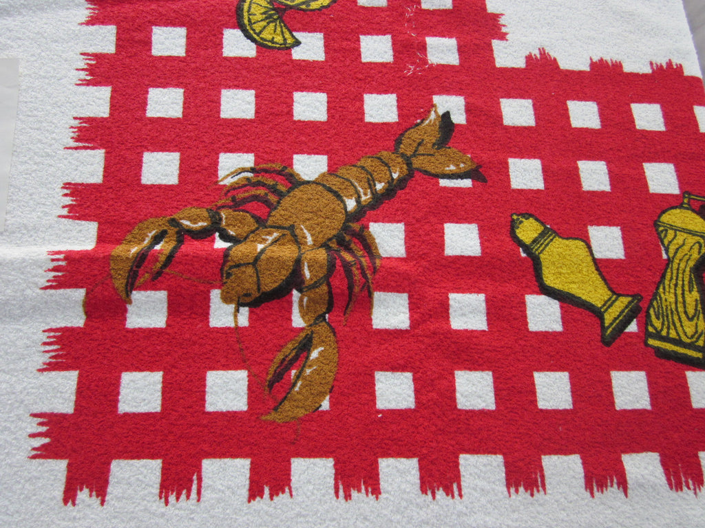 Terry Barbeque Lobster BBQ MWT Vintage Printed Tablecloth (54 X 52)