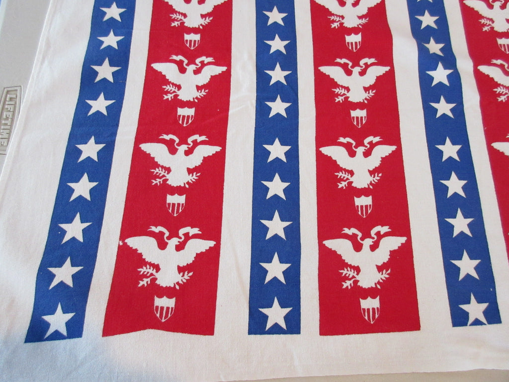 Rare Patriotic Eagles Stars Shields Picnic? Novelty Vintage Printed Tablecloth (83 X 42)