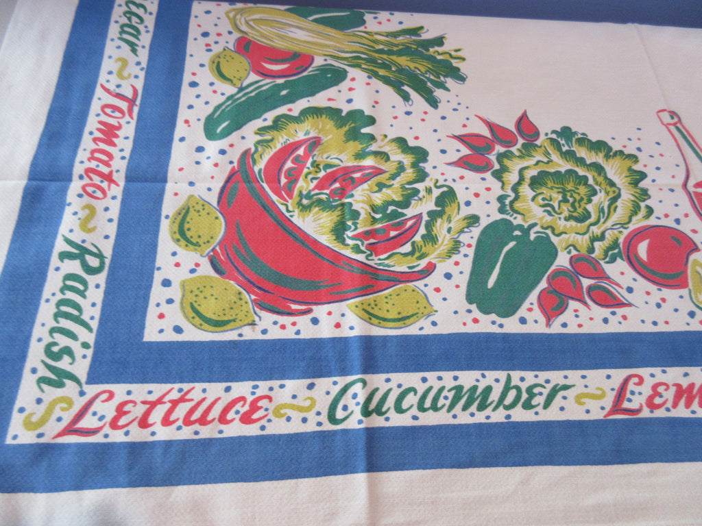 Salad Fixings Blue Border Cutter? Vintage Printed Tablecloth (52 X 45)