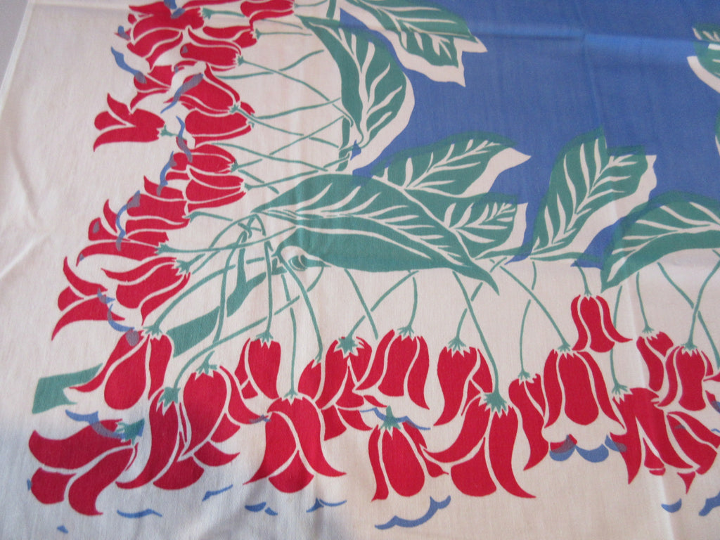 Red Green Fritillaria on Blue TOPPER Floral Vintage Printed Tablecloth (36 X 32)