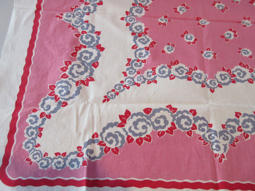 Sweet Gray Red Floral on Bubblegum Pink Topper Floral Vintage Printed Tablecloth (38 X 35)