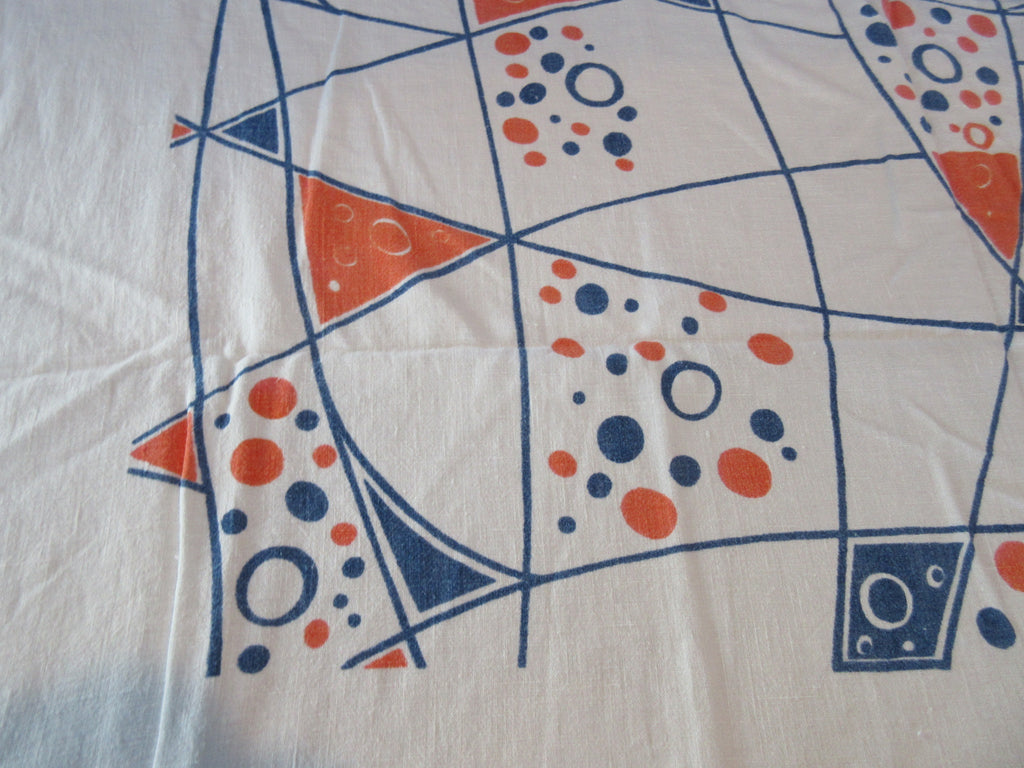 Early Atomic Geometric Modern Art Novelty Vintage Printed Tablecloth (52 X 52)
