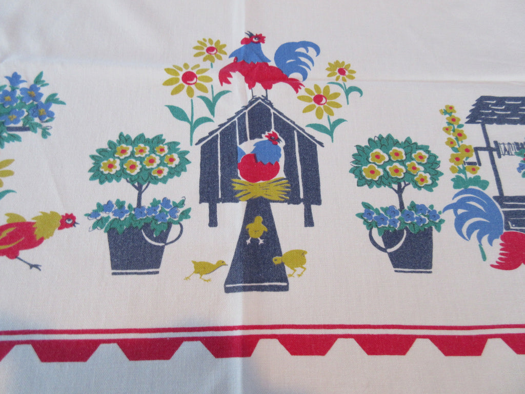 Shabby Rooster Mailbox Novelty Vintage Printed Tablecloth (53 X 45)