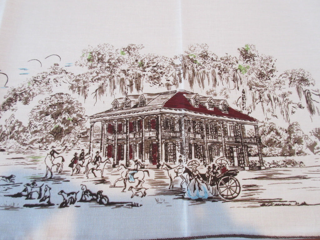 Unused Southern Belles Plantations Carriages Novelty Vintage Printed Tablecloth (78 X 60)