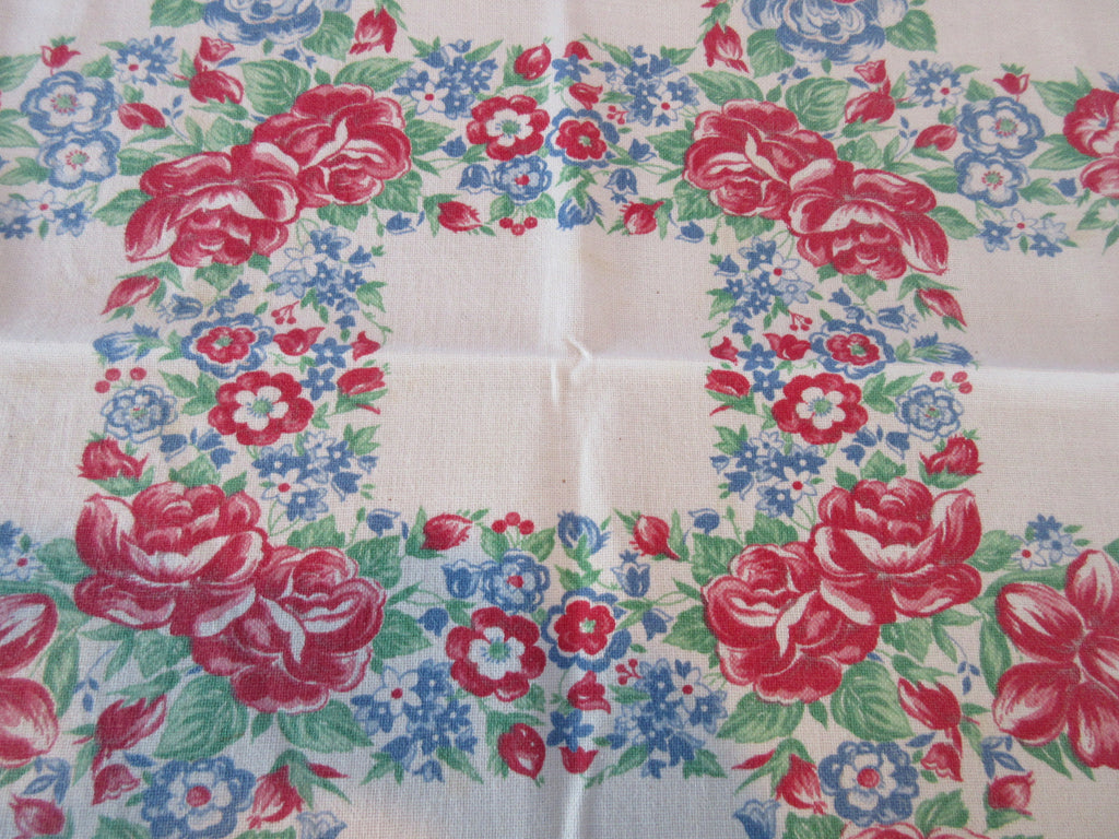 Primary Roses Red Blue Topper TLC Floral Vintage Printed Tablecloth (35 X 30)