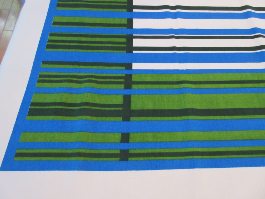 Unwashed Blue Green Black 1960s Plaid Novelty Vintage Printed Tablecloth (71 X 54)