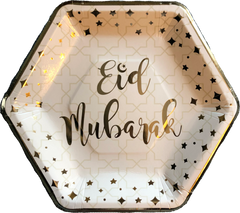 Eid Mubarak Dinner Plates - White and Gold - Anafiya Gifts
