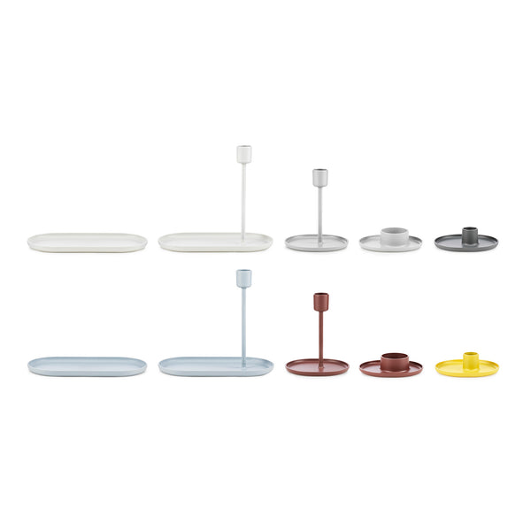 'Folk Candlestick Tray, Light Grey