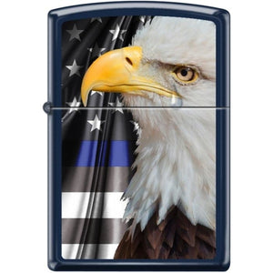 Zippo Lighter - Eagle w/ Flag Navy Blue Matte