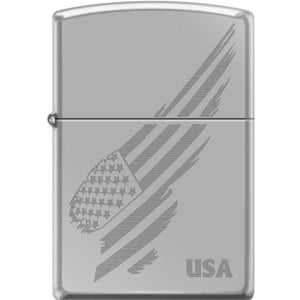 Zippo Lighter - Engraved Flag Hi Polish Chrome