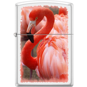 Zippo Lighter - Flamingo White Matte