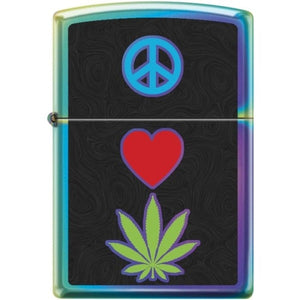 Zippo Lighter - Peace Pot Leaf Spectrum Finish