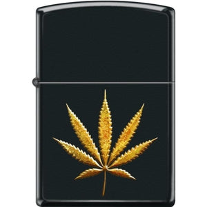 Zippo Lighter - Pot Leaf in Gold Black Matte