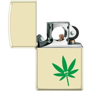 Zippo Lighter - Pot Leaf - Smiley Face Pipe Lighter Creme Matte - Lighter