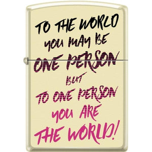 Zippo Lighter - To The World - One Person Creme Matte
