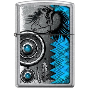 Zippo Lighter - Turquoise, Horse, Dreamcatcher Street Chrome