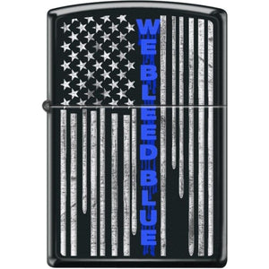 Zippo Lighter - We Bleed Blue Black Matte