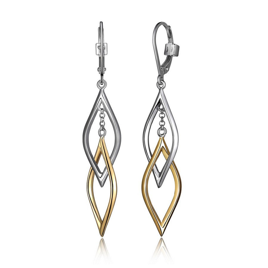 WAVE 2 TONE YEL GOLD LINK LEVERBACK EARRINGS