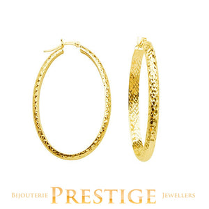 DIAMOND CUT OVAL HOOPS 4MM TUBE 22X32MM 10KT YELLOW GOLD