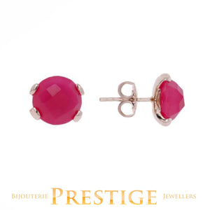 BRONZALLURE FELICIA NATURAL STONE BUTTON EARRINGS - FUCHSIA CHALCEDONY