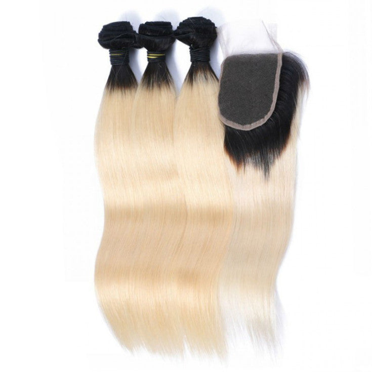 3 Platinum Blonde Bundles + Closure (1B at Roots) $260