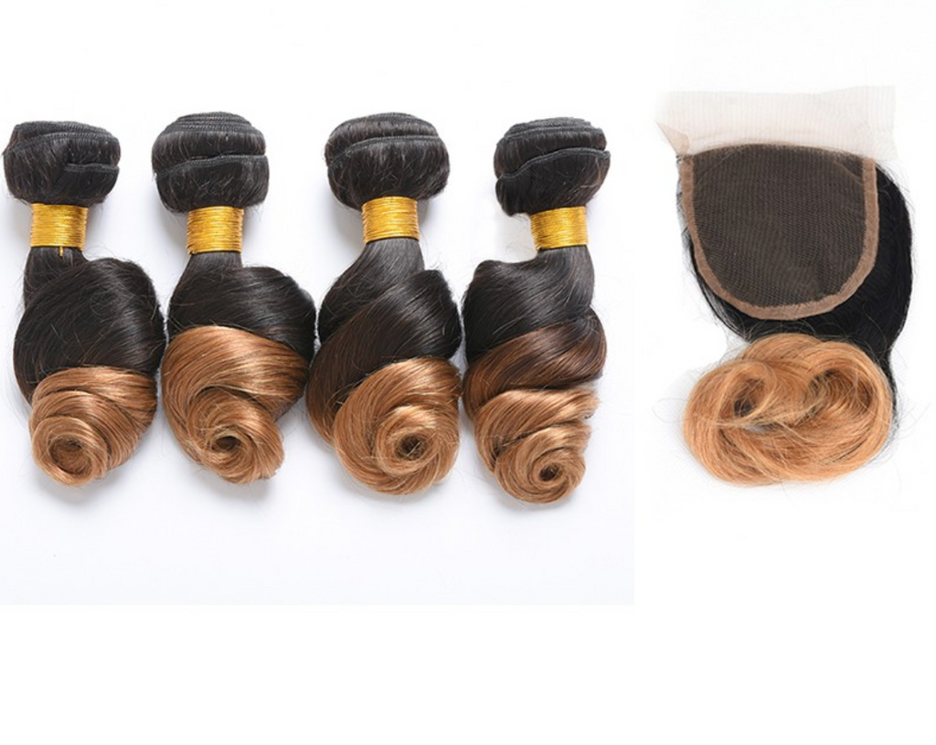 4 Bundles Any Ombre/Color with Closure