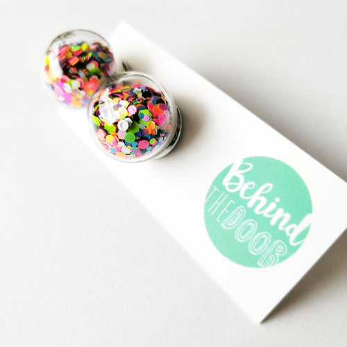 Bob Multi Confetti Shaker Glass Bauble Earrings