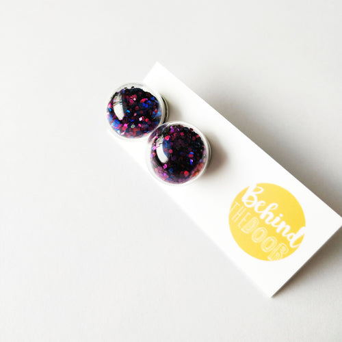 Bob Purple and Blue Shaker Glass Bauble Earrings