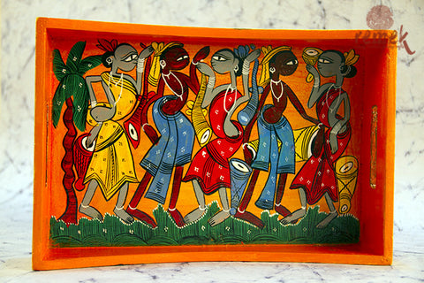 "Hand-painted ""Santhal Art"" Tray from West Bengal"