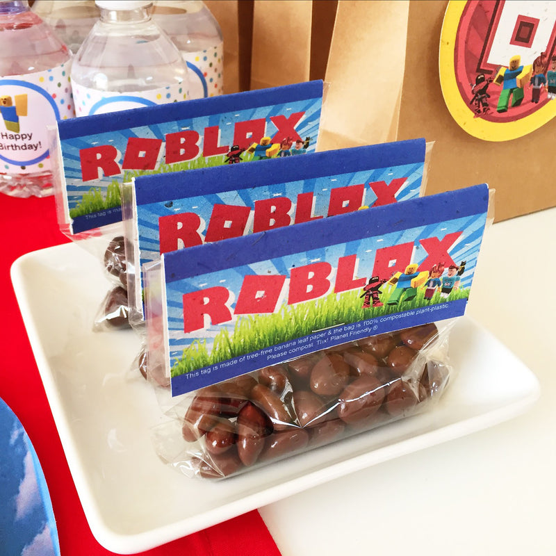 Roblox-Inspired Compostable Treat Bag Kit (pack of 8, plant-based plastic bags)