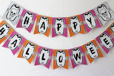 Happy Halloween Banner, Cute Scary (Printed on Tree-Free Banana Paper!)