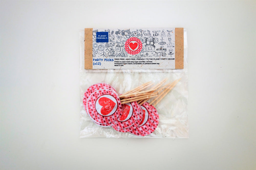 Valentine's Day Party Picks, 12-pack (Printed on Tree Free Sugar Cane Paper)