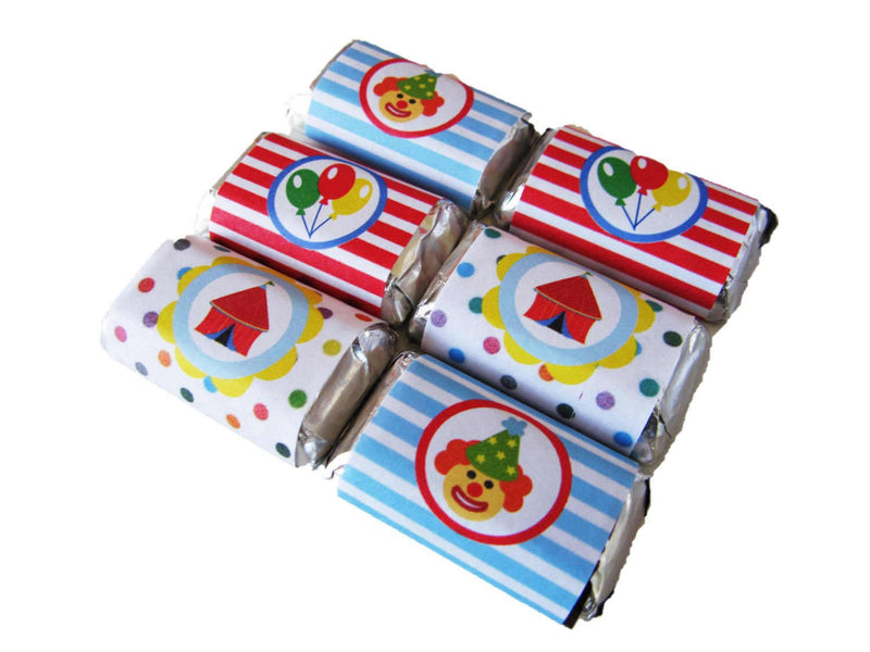 Circus Theme Tree-free Mini Chocolate Wraps (24/pack, Sugar Cane Stalk Paper)