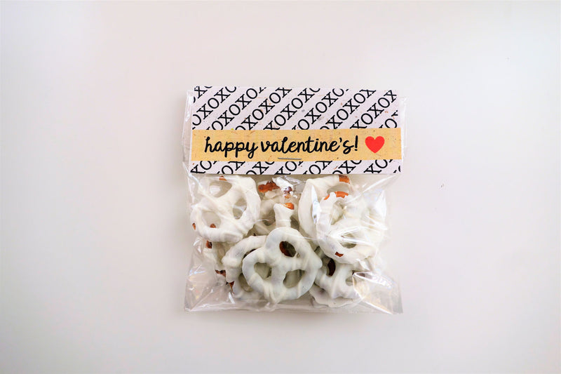 Valentine's Minimalist Compostable Plant-Cello Treat Bags with Tent Cards (8-pack), for party favors